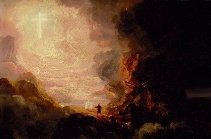 The Pilgrim of the Cross at the End of His Journey (study for series, The Cross and the World) ca. 1846-1848  Thomas Cole